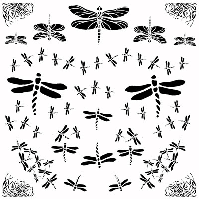 Decal Profusion Dragonflies 1 / Gold